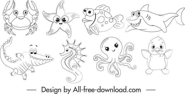 marine species icons cartoon sketch black white handdrawn