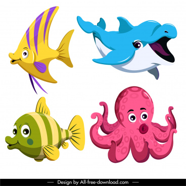 marine species icons cute cartoon fish octopus sketch