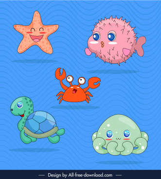 marine species icons cute cartoon sketch