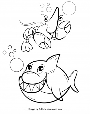 marine species icons funny cartoon character handdrawn sketch