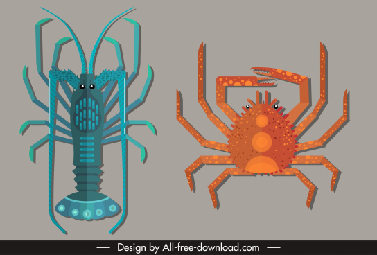marine species icons lobster crab sketch colored flat
