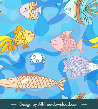 marine species pattern cute cartoon fishes colorful handdrawn