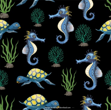 marine species pattern seahorse tortoise coral icons decor