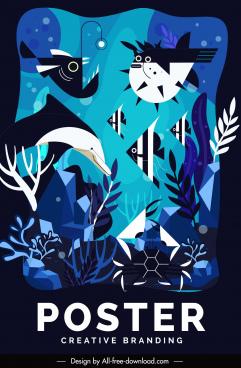 marine species poster colored classic design