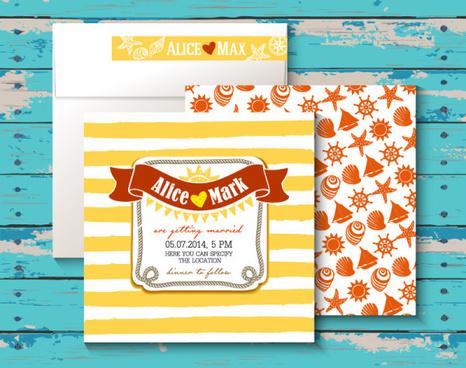 marine style wedding invitation cards vector
