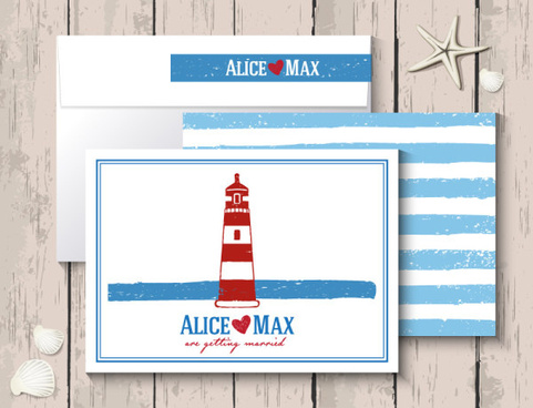 marine style wedding invitation cards vector
