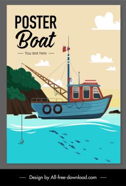 maritime banner fishing boat sea scene sketch