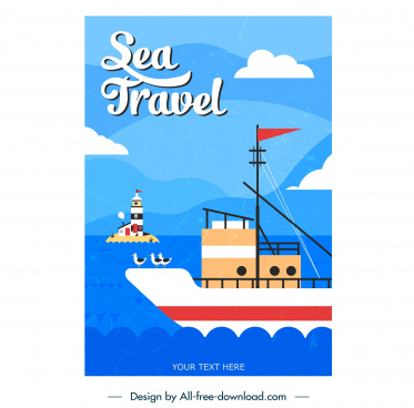 maritime card template ship lighthouse sketch flat classic