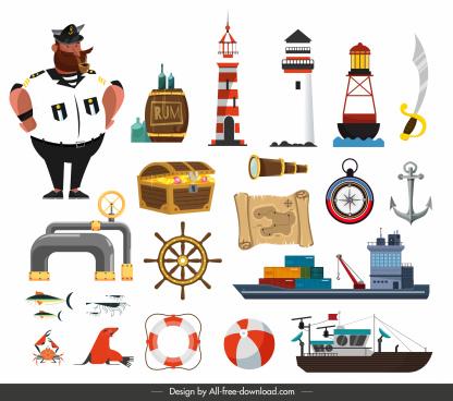 maritime design elements colorful sea symbols sketch