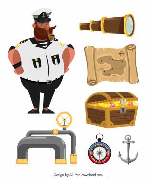 maritime design elements colorful symbols sketch