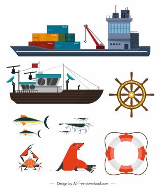 maritime design elements ship sea elements sketch