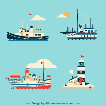 maritime design elements vessels lighthouse sketch