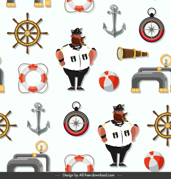 maritime pattern template colorful repeating symbols sketch