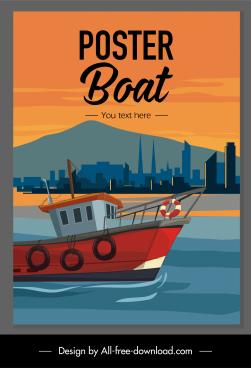 maritime poster fishing boat port scene sketch
