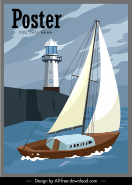 maritime poster sail boat light house sketch