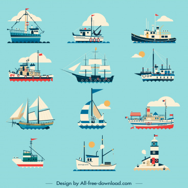 maritime ships icons classic modern sketch