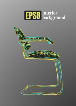 chair interior background colorful handdrawn 3d sketch