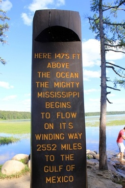 marker for the mississippi039s origins at lake itasca state park minnesota
