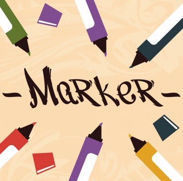 marker pens advertising banner colorful classical decor