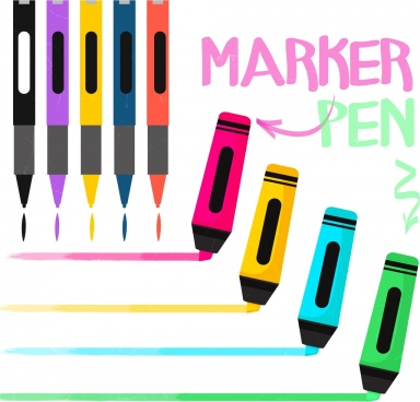 marker pens advertising colorful icons decoration