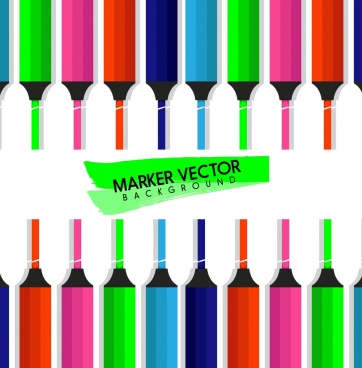 marker pens background colorful icons decor