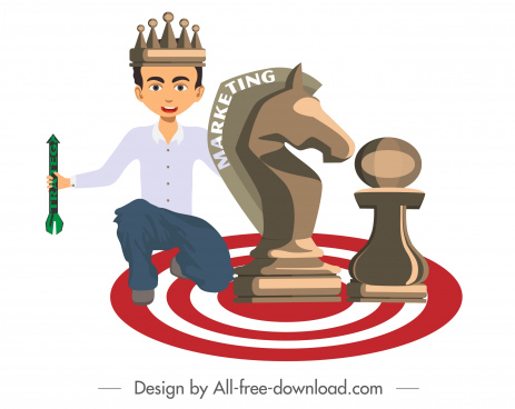 marketing strategy background king chess pieces icons sketch
