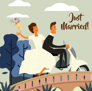 marriage background bridge groom motorbike icons colored cartoon