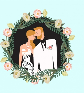 marriage background groom bride rose wreath icons decor