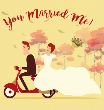 marriage background groom bride scooter icons classical design