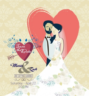 marriage banner couple icon heart flowers decoration