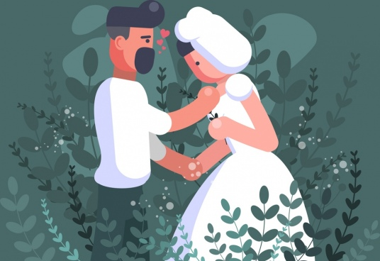 marriage couple painting colored cartoon design