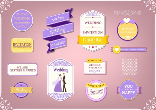 marriage design elements various shapes violet white decor