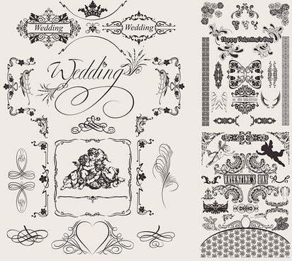 married floral border vector