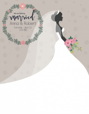 married poster bride icon elegant white dress decor