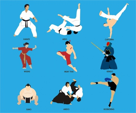 martial arts vector illustration with various subjects