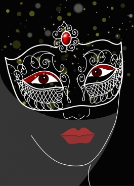 mask background woman face sketch bokeh black decor