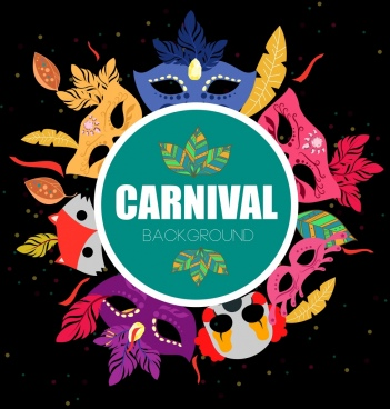 mask carnival background circle decoration colorful icons