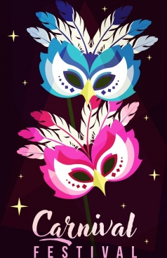 mask carnival banner sparkling classical design owl icon