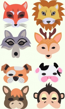 mask icons collection animal faces isolation