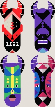 masks icons collection colorful classical design horror decor