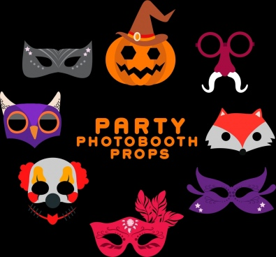 masks icons collection various scary design style