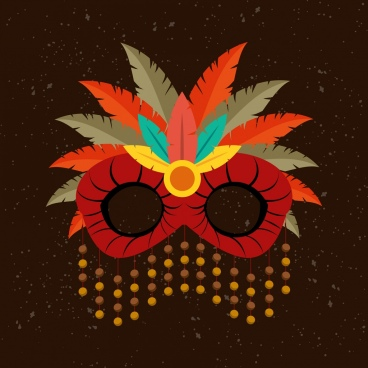 masquerade mask icon colorful feathers decoration