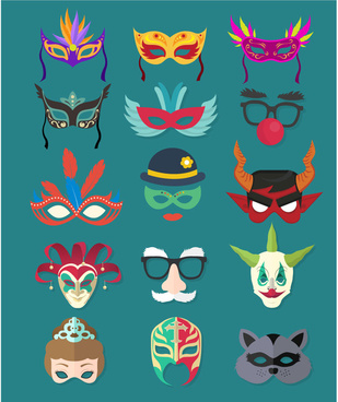 masquerade masks collection in various colors styles