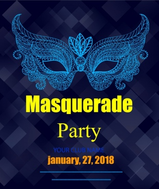 masquerade party banner mask icon dark colored design