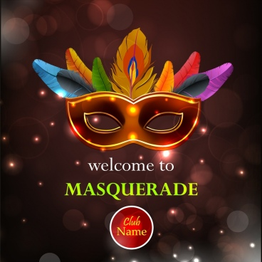 masquerade party leaflet colorful classical mask bokeh backdrop