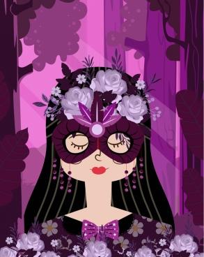 masqueraded woman portrait violet design flowers decoration