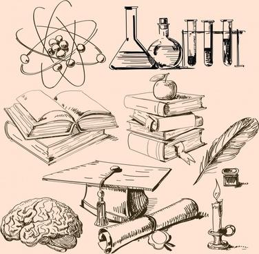 scientific educational design elements retro handdrawn symbols