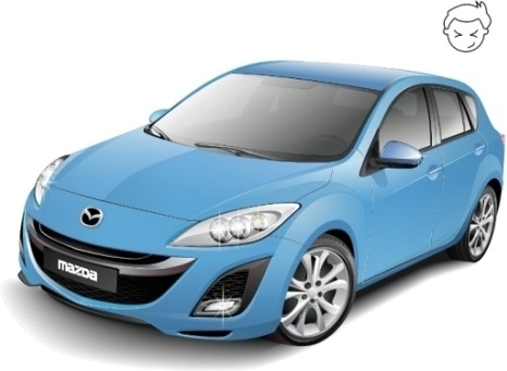 mazda car model realistic blue sedan style