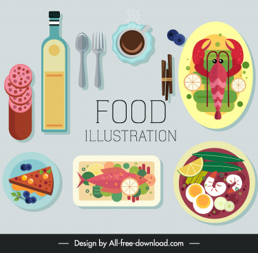 meal design elements colorful flat classic sketch
