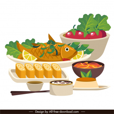 meal painting 3d sketch oriental decor